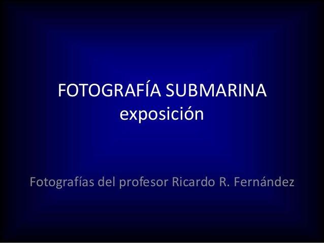FOTOGRAF�A SUBMARINA exposici�n Fotograf�as del profesor Ricardo R. Fern�ndez