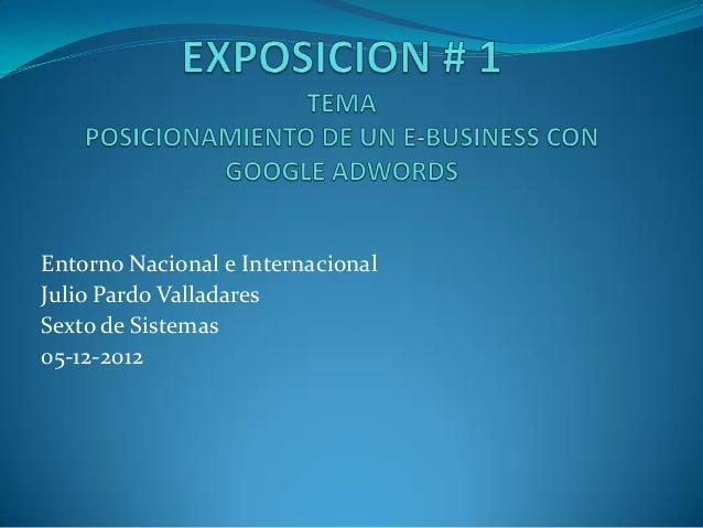 Entorno Nacional e InternacionalJulio Pardo ValladaresSexto de Sistemas05-12-2012