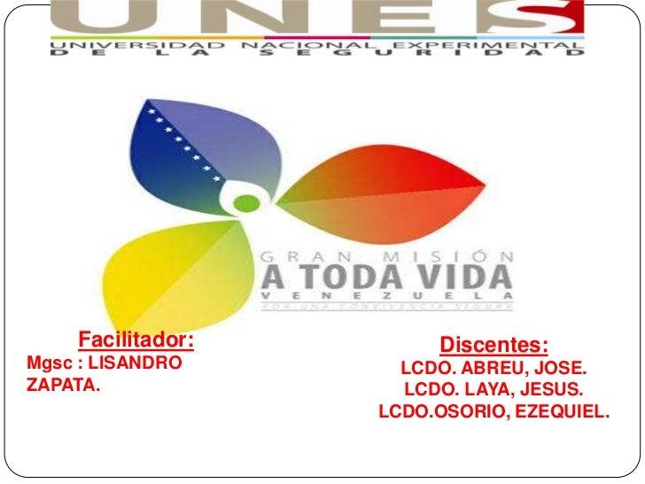 Facilitador:        Discentes:Mgsc : LISANDRO      LCDO. ABREU, JOSE.ZAPATA.              LCDO. LAYA, JESUS.              ...