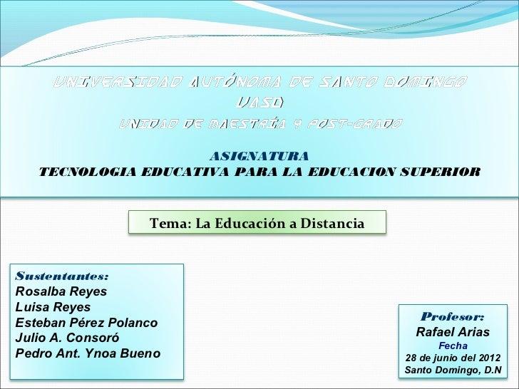 Universidad Autónoma de Santo Domingo                     UASD               Unidad de Maestría y Post-Grado              ...