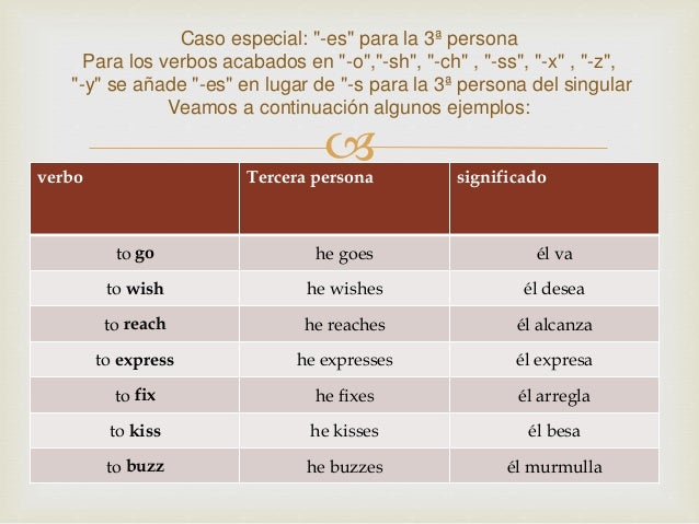 Verbos En Tercera Persona Exposicion Ingles