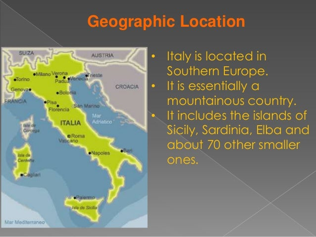a geographical overview of italy a country in southern europe The term southern europe, at its most general definition, is used to mean all countries in the south of europe  countries geographically considered part of southern europe include southern europe — noun a sociopolitical region of europe including such countries as spain, portugal, italy.