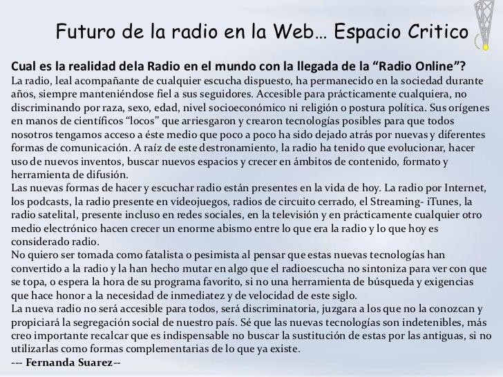 """Futuro de la radio en la Web… Espacio CriticoCual es la realidad dela Radio en el mundo con la llegada de la """"Radio Online..."""