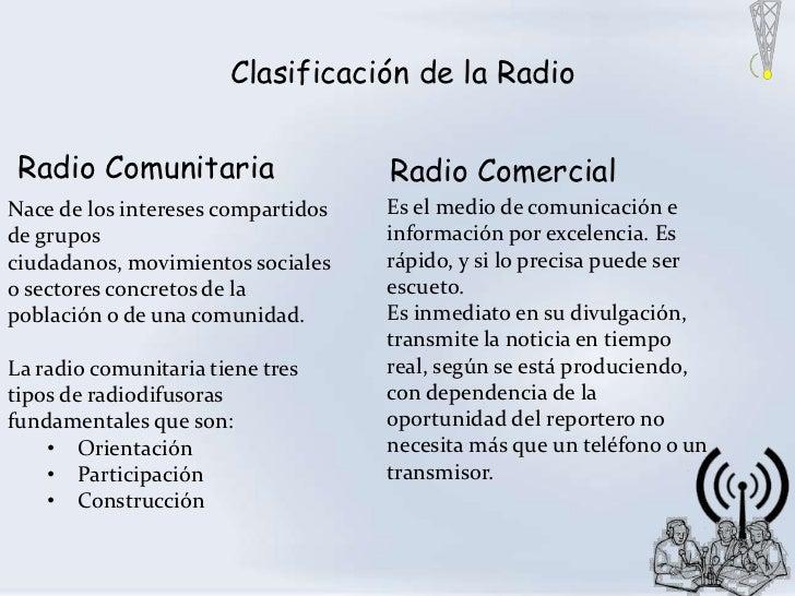 Clasificación de la Radio Radio Comunitaria                  Radio ComercialNace de los intereses compartidos   Es el medi...