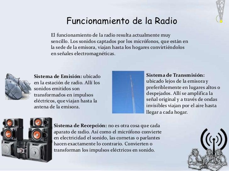 Funcionamiento de la Radio        El funcionamiento de la radio resulta actualmente muy        sencillo. Los sonidos capta...