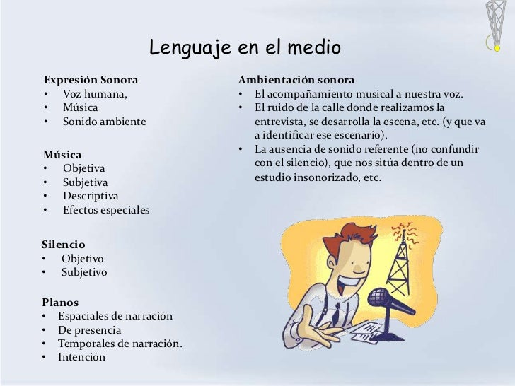 Lenguaje en el medioExpresión Sonora             Ambientación sonora• Voz humana,                • El acompañamiento music...