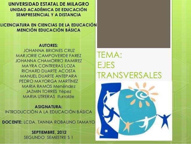 TEMA: EJES TRANSVERSALES UNIVERSIDAD ESTATAL DE MILAGRO UNIDAD ACADÉMICA DE EDUCACIÓN SEMIPRESENCIAL Y A DISTANCIA LICENCI...