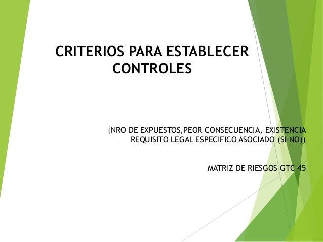 CRITERIOS PARA ESTABLECER CONTROLES (NRO DE EXPUESTOS,PEOR CONSECUENCIA, EXISTENCIA REQUISITO LEGAL ESPECIFICO ASOCIADO (S...