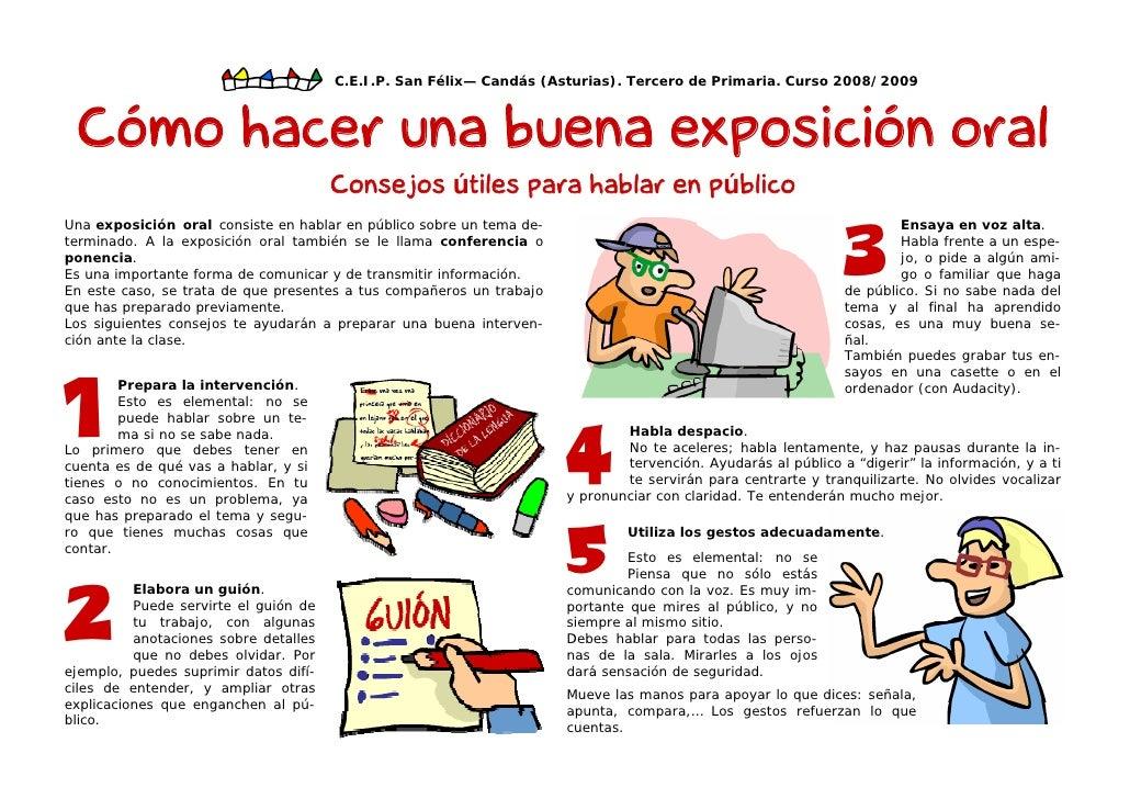 Exposicion oral for Pasos para realizar una exposicion