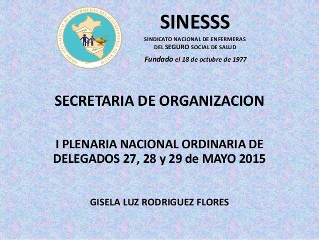 SECRETARIA DE ORGANIZACION I PLENARIA NACIONAL ORDINARIA DE DELEGADOS 27, 28 y 29 de MAYO 2015 GISELA LUZ RODRIGUEZ FLORES...