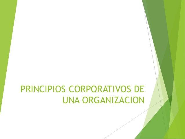 PRINCIPIOS CORPORATIVOS DEUNA ORGANIZACION