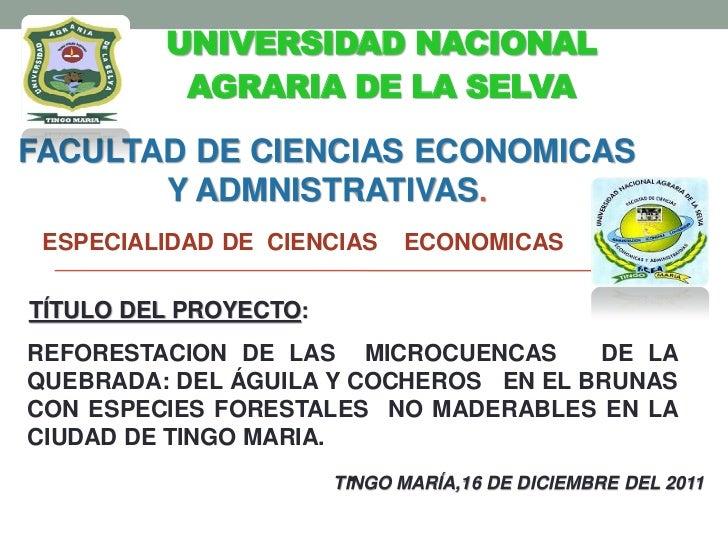 UNIVERSIDAD NACIONAL          AGRARIA DE LA SELVAFACULTAD DE CIENCIAS ECONOMICAS       Y ADMNISTRATIVAS. ESPECIALIDAD DE C...