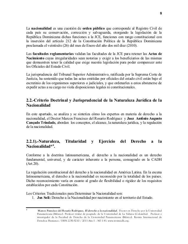 Nacionalidad y Sentencia del Tribunal Constitucional