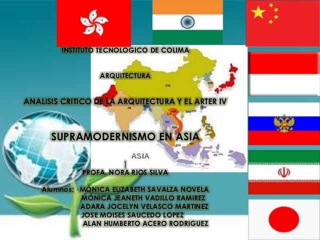 INSTITUTO TECNOLOGICO DE COLIMA                  ARQUITECTURAANALISIS CRITICO DE LA ARQUITECTURA Y EL ARTER IV      SUPRAM...