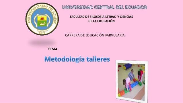 FACULTAD DE FILOSOFÍA LETRAS Y CIENCIAS DE LA EDUCACIÓN  CARRERA DE EDUCACIÓN PARVULARIA  TEMA: