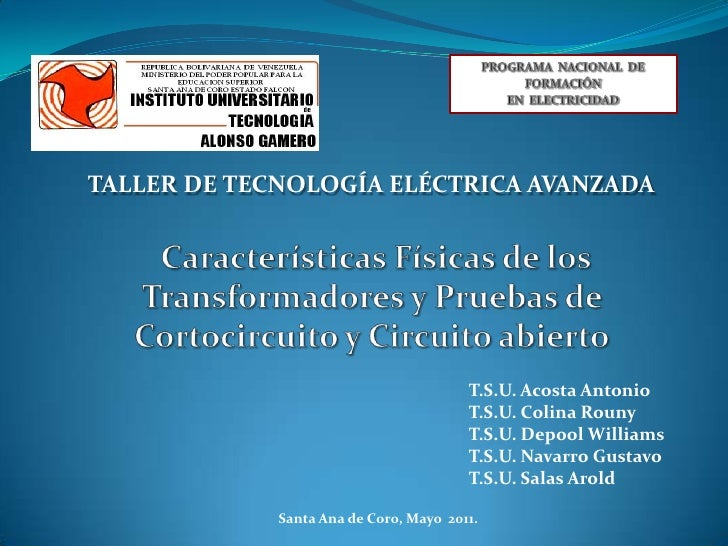 TALLER DE TECNOLOGÍA ELÉCTRICA AVANZADA                                        T.S.U. Acosta Antonio                      ...