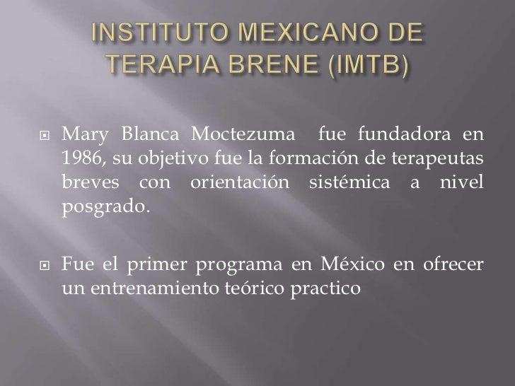 INSTITUTO MEXICANO DE TERAPIA BRENE (IMTB)<br />Mary Blanca Moctezuma  fue fundadora en 1986, su objetivo fue la formación...