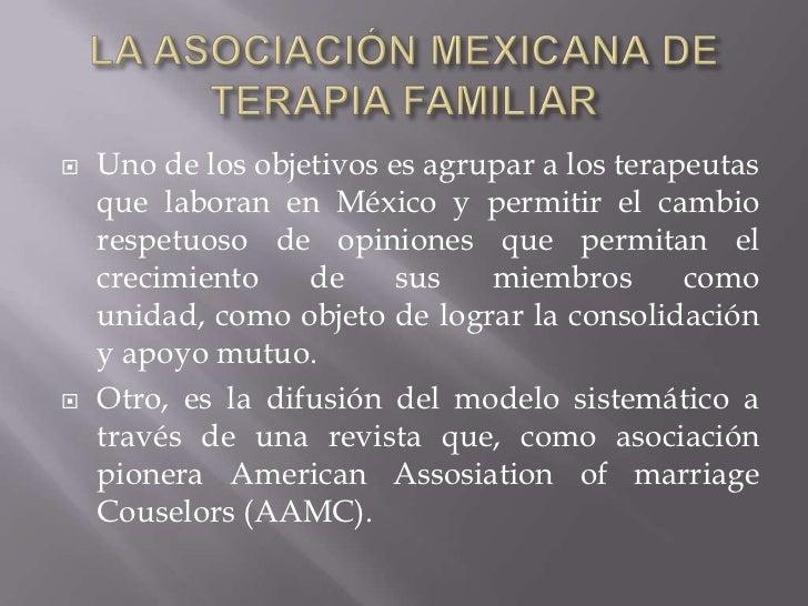 LA ASOCIACIÓN MEXICANA DE TERAPIA FAMILIAR<br />Uno de los objetivos es agrupar a los terapeutas que laboran en México y p...