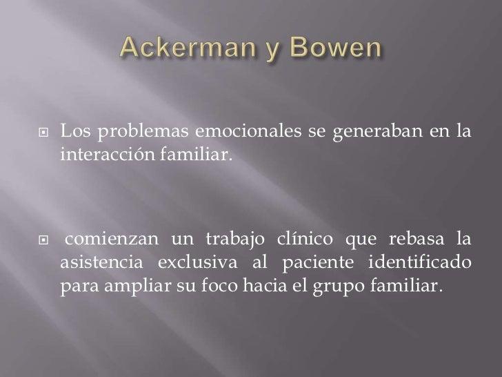 Ackerman y Bowen<br />Los problemas emocionales se generaban en la interacción familiar.<br /> comienzan un trabajo clínic...