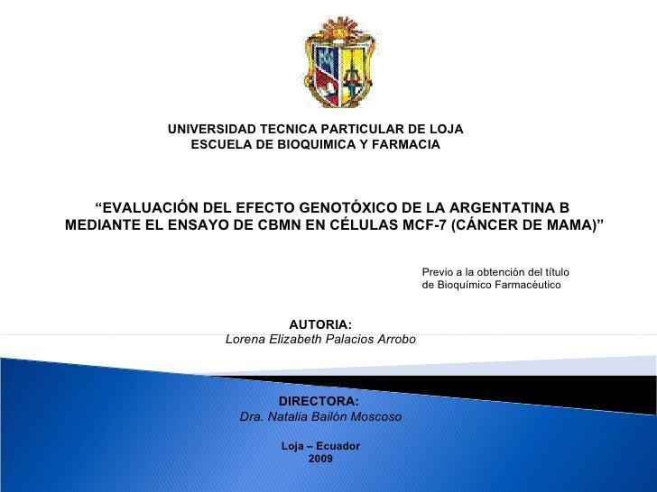 """UNIVERSIDAD TECNICA PARTICULAR DE LOJA ESCUELA DE BIOQUIMICA Y FARMACIA """" EVALUACIÓN DEL EFECTO GENOTÓXICO DE LA ARGENTATI..."""