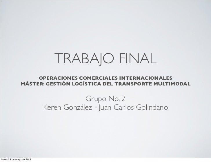 TRABAJO FINAL                    OPERACIONES COMERCIALES INTERNACIONALES               MÁSTER: GESTIÓN LOGÍSTICA DEL TRANS...