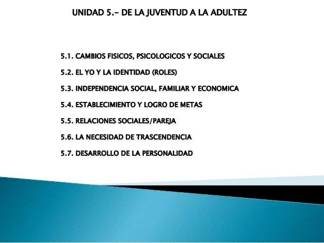 UNIDAD 5.- DE LA JUVENTUD A LA ADULTEZ 5.1. CAMBIOS FISICOS, PSICOLOGICOS Y SOCIALES 5.2. EL YO Y LA IDENTIDAD (ROLES) 5.3...