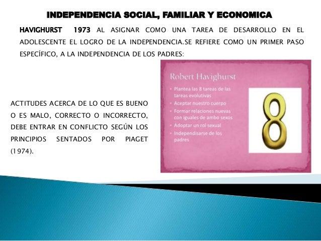INDEPENDENCIA SOCIAL, FAMILIAR Y ECONOMICA (1973) COMO ERICKSON, QUE UN TRABAJO DEL ADOLESCENTE DEBE SER DESARROLLAR UNA I...