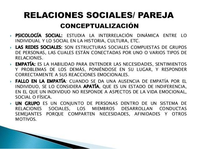  LA RELACIÓN DE PAREJA REPRESENTA LA TRASCENDENCIA DE LA SEXUALIDAD HACIA UNA DIMENSIÓN INTERACCIONAL, ESENCIALMENTE SOCI...