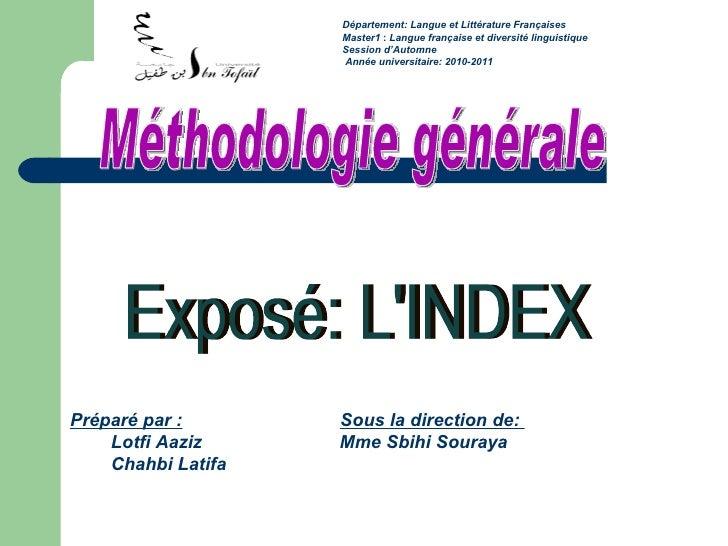 Département: Langue et Littérature Françaises  Master1 :  Langue française et diversité linguistique Session d'Automne  A...