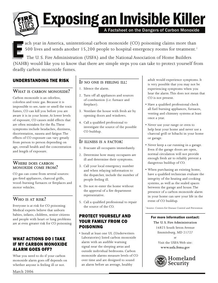 Exposing an Invisible Killer              A Factsheet on the Dangers of Carbon Monoxide     E         ach year in America,...