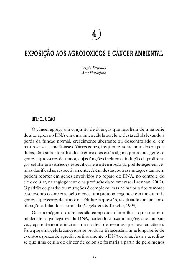 7 5 Exposição aos Agrotóxicos e Câncer Ambiental 4 EXPOSIÇÃO AOS AGROTÓXICOS E CÂNCER AMBIENTAL Sergio Koifman Ana Hatagim...