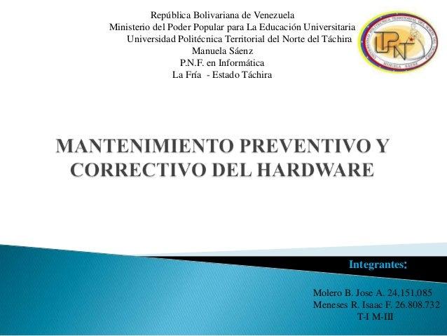 República Bolivariana de Venezuela Ministerio del Poder Popular para La Educación Universitaria Universidad Politécnica Te...
