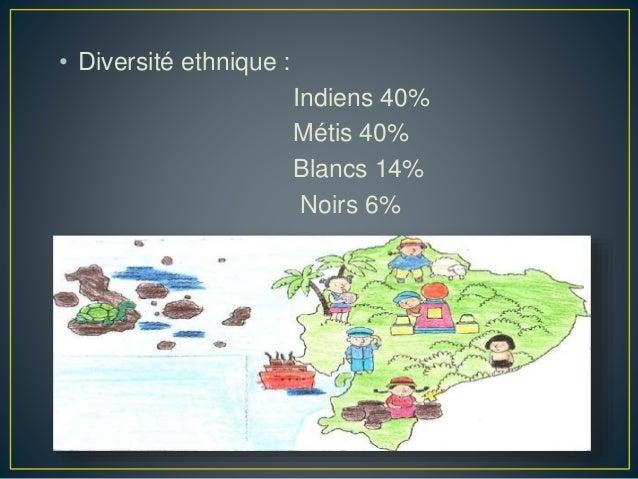• Diversité ethnique : Indiens 40% Métis 40% Blancs 14% Noirs 6%