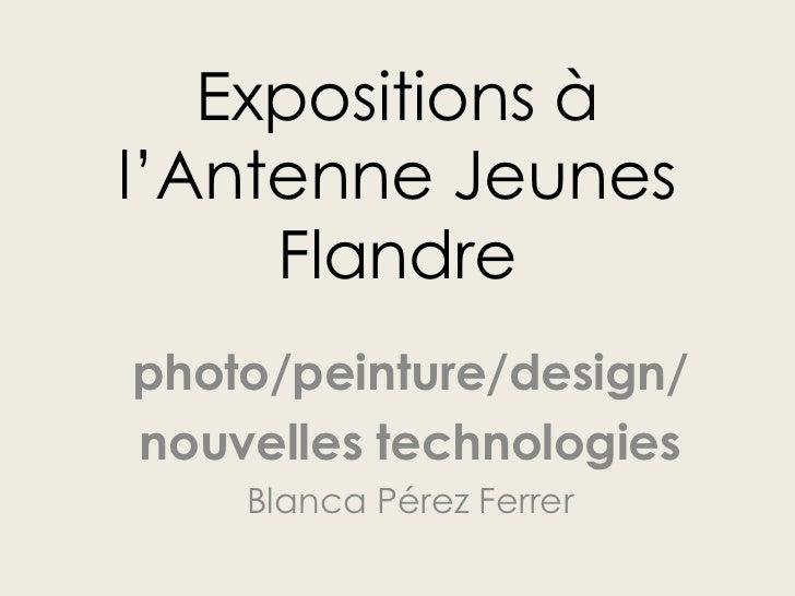 Expositions àl'Antenne Jeunes     Flandrephoto/peinture/design/nouvelles technologies    Blanca Pérez Ferrer