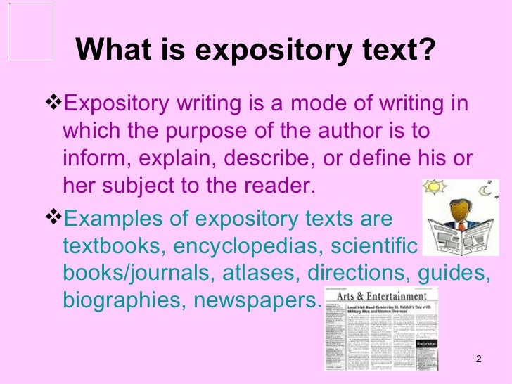 two types of expository essays Expository writing explains or describes a given topic expository writing is fact-based, and the gathering of accurate information is an important first step in the.
