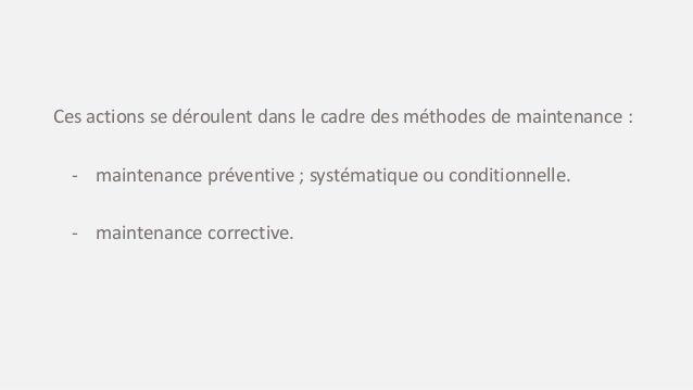 Un niveau de maintenance se définit par rapport : - à la nature de l'intervention - à la qualification de l'intervenant - ...