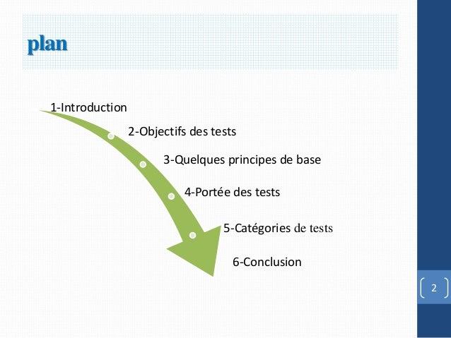 plan  1-Introduction                   2-Objectifs des tests                         3-Quelques principes de base         ...