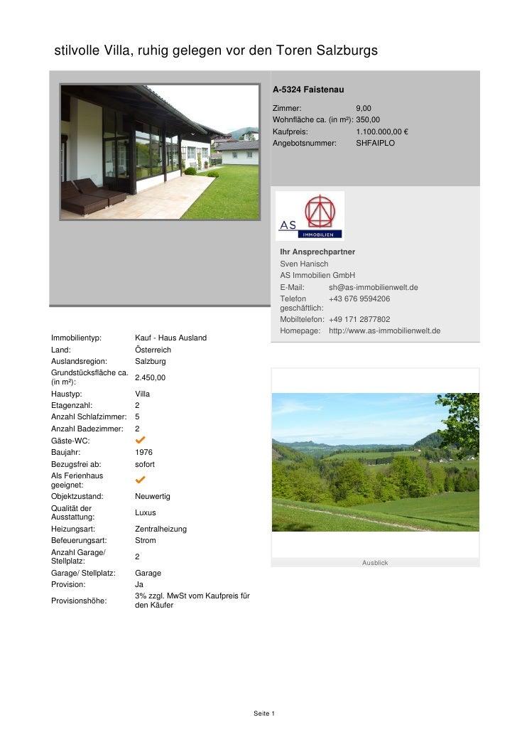 stilvolle Villa, ruhig gelegen vor den Toren Salzburgs                                                                A-53...