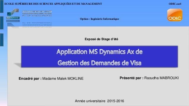 Encadré par : Madame Malek MOKLINE Présenté par : Raoudha MABROUKI Année universitaire 2015-2016 Option : Ingénierie Infor...