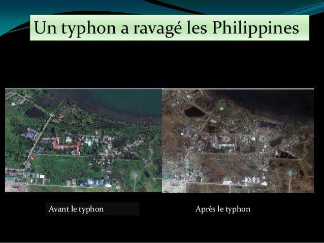 Un typhon a ravagé les Philippines  Avant le typhon  Après le typhon