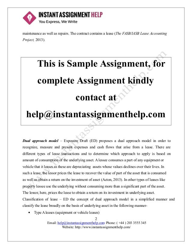Exposure Draft on Lease Assignment Sample – Assignment of Lease