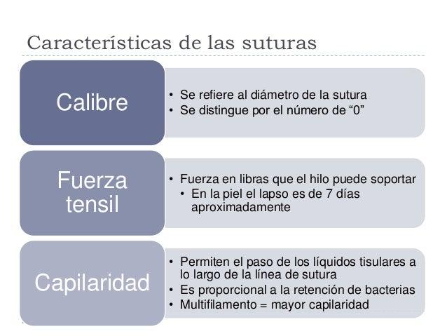 """Características de las suturas • Se refiere al diámetro de la sutura • Se distingue por el número de """"0""""Calibre • Fuerza e..."""