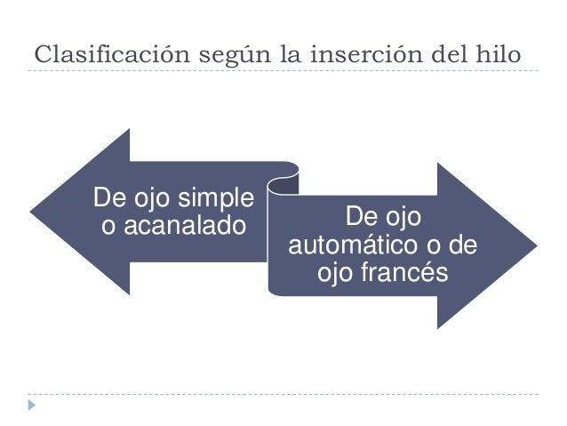 Clasificación según la inserción del hilo De ojo simple o acanalado De ojos automático o francés  Es la más antigua  Deb...