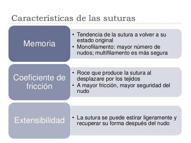 Características de las suturas • Tendencia de la sutura a volver a su estado original • Monofilamento: mayor número de nud...