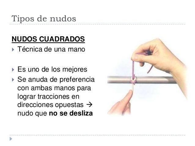 Tipos de nudos NUDOS CUADRADOS  Técnica de dos manos  Es el mejor y más sencillo