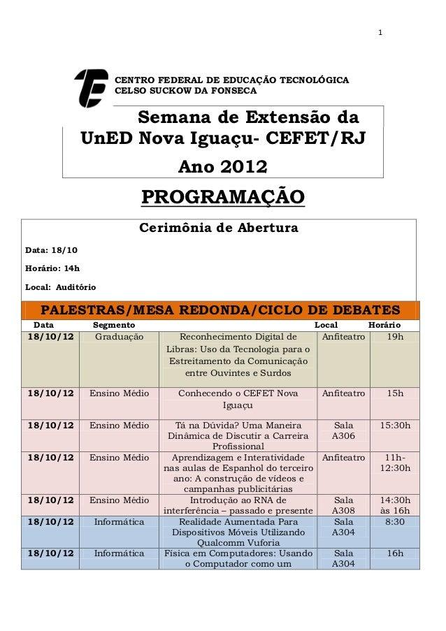 1                    CENTRO FEDERAL DE EDUCAÇÃO TECNOLÓGICA                    CELSO SUCKOW DA FONSECA                    ...