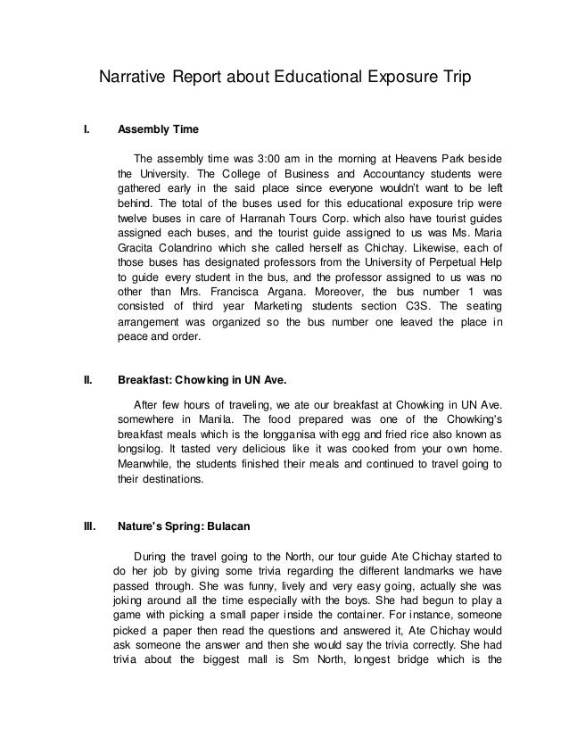 exceptionnel Narrative Report about Educational Exposure Trip I. Assembly Time The  assembly time was 3: ...