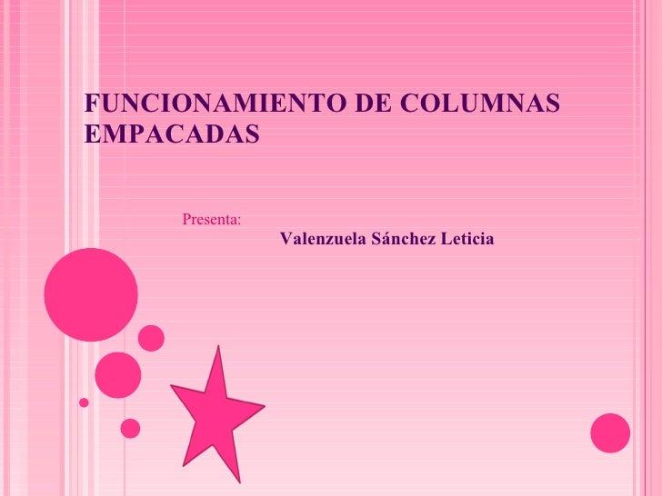 FUNCIONAMIENTO DE COLUMNAS EMPACADAS Presenta: Valenzuela Sánchez Leticia