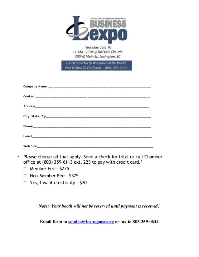 GlcVc Business Lexpo Vendor Registration Form