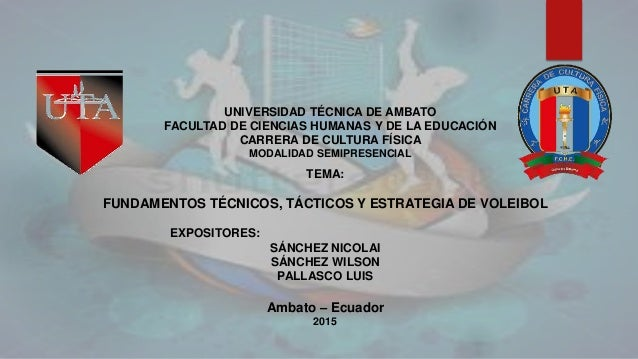 TEMA: FUNDAMENTOS TÉCNICOS, TÁCTICOS Y ESTRATEGIA DE VOLEIBOL EXPOSITORES: SÁNCHEZ NICOLAI SÁNCHEZ WILSON PALLASCO LUIS Am...